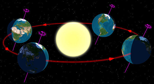 A diagram of the Sun and the Earth (not to scale) during each season