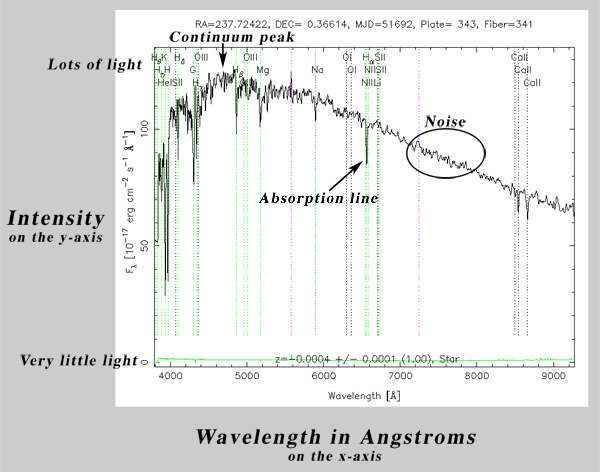 An image of a spectrum, with continuum peak, an absorption line, and noise labeled.